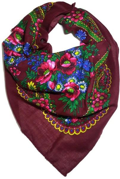 Polish Ukrainian Folk Cotton Head Scarf Burgundy