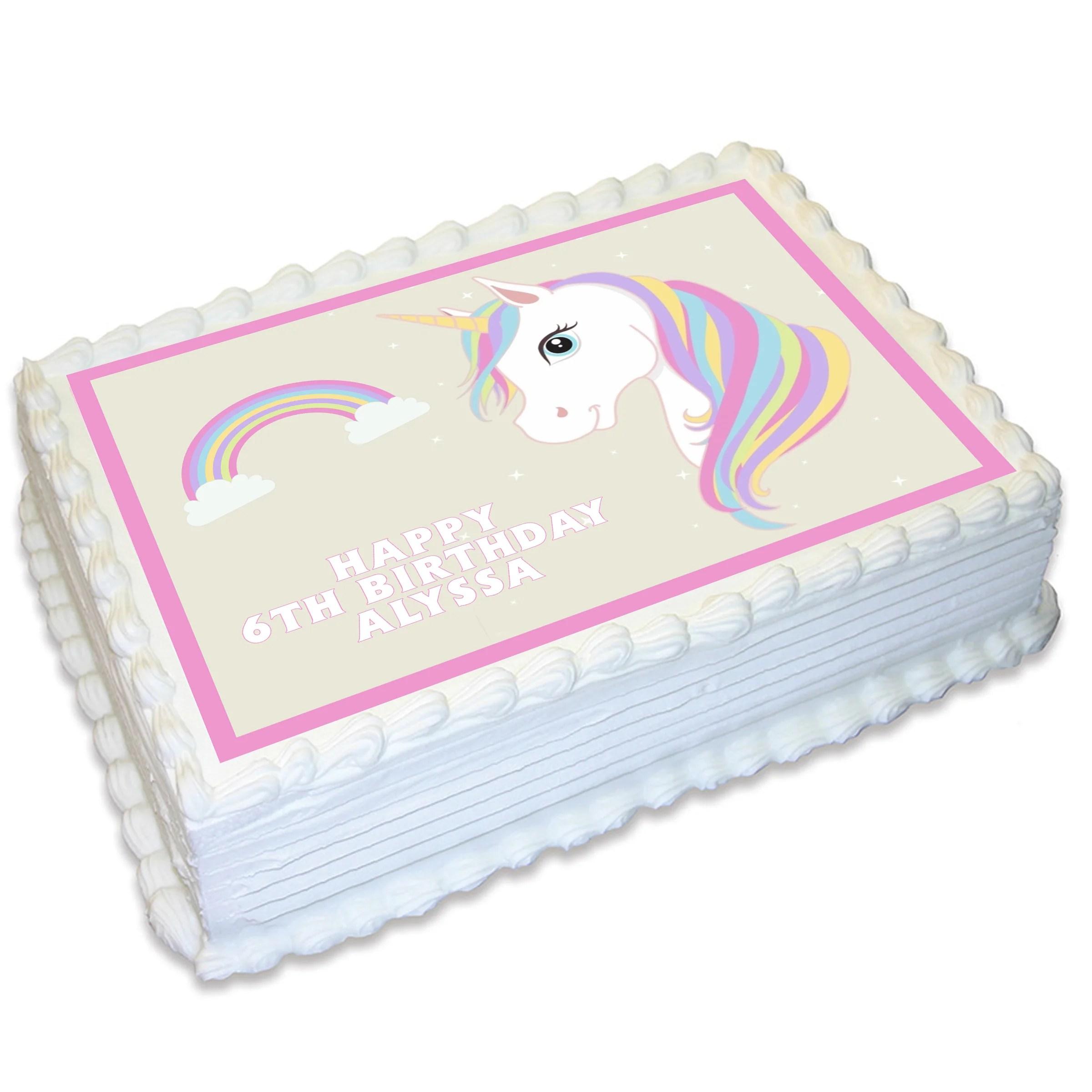 Unicorn Rectangle Edible Cake Topper Deezee Designs