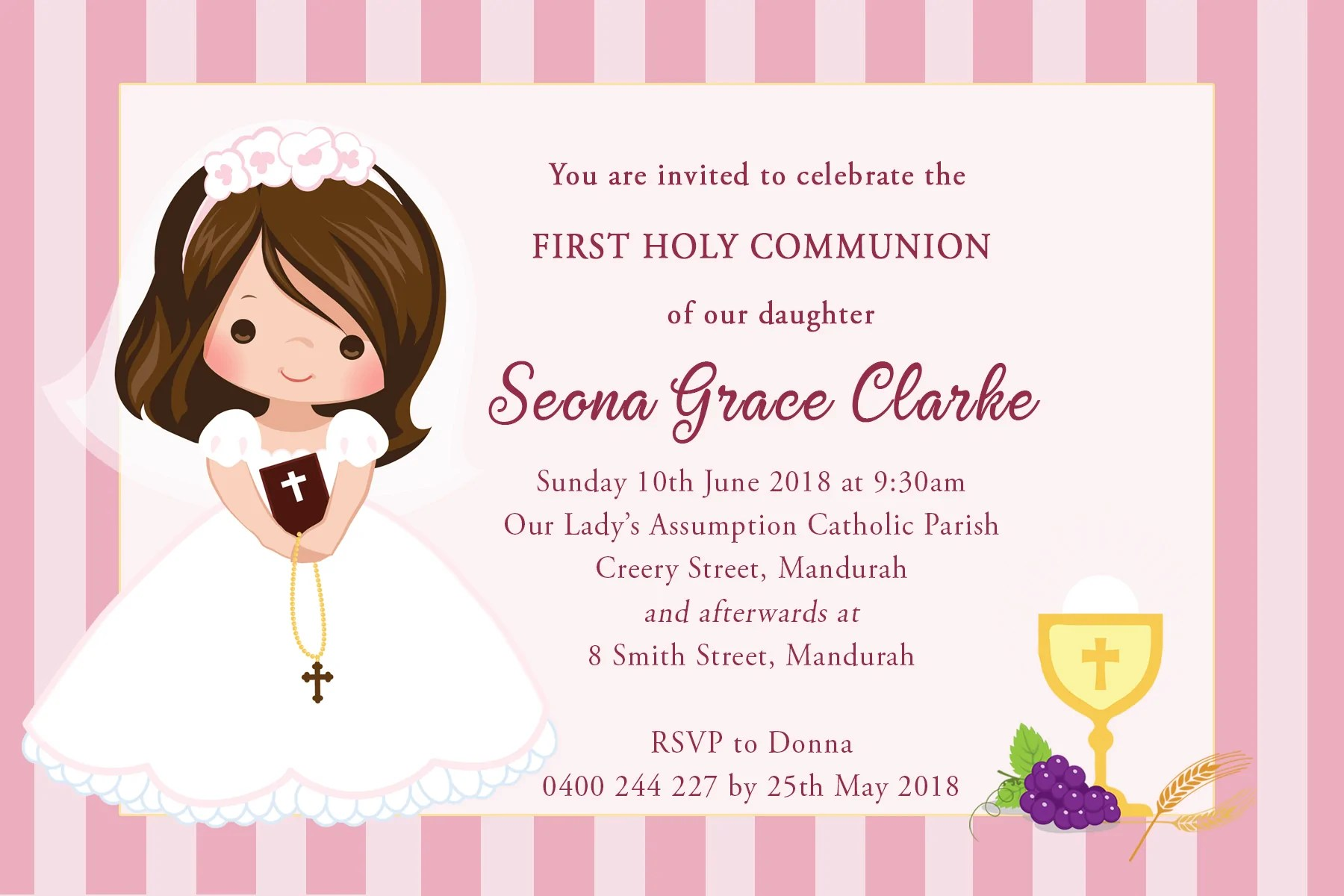 seona first holy communion invitation