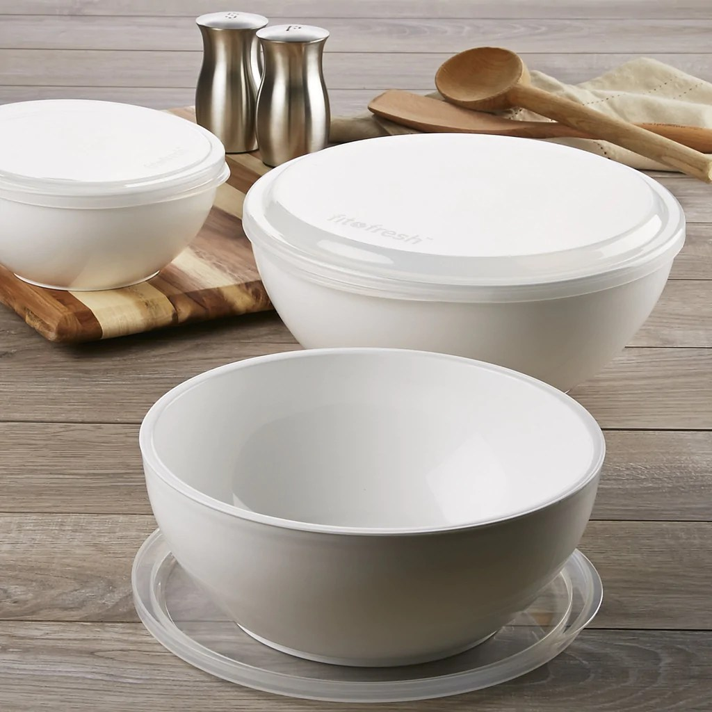Fit & Fresh Freezable Chilled Party Serving Bowls Lids Set Of 3