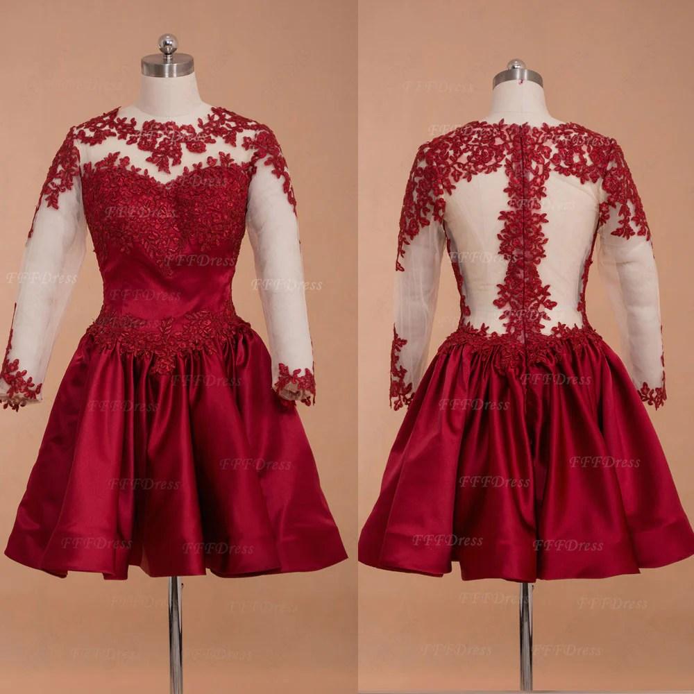 Burgundy Backless Short Prom Dresses Long Sleeves