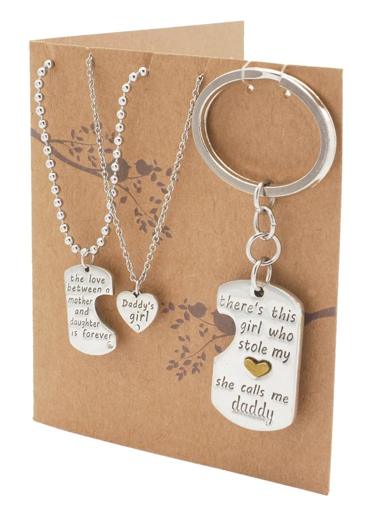 Joie Father Mother Daughter Necklace Set Gifts For