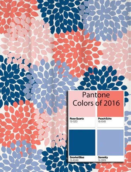Dahlia Floral Shower Curtain in Pantone Colors of the Year