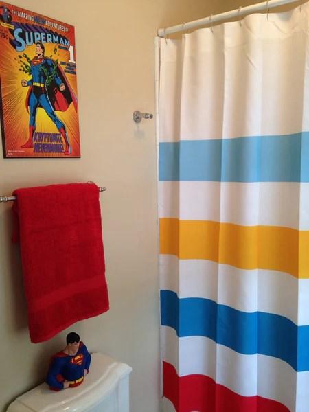 Superman Inspired Striped Shower Curtain  Swirled Peas