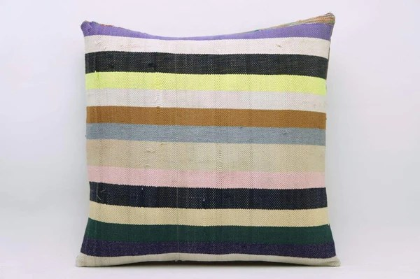 CLEARANCE 16x16 Vintage Hand Woven Kilim Pillow 828 white