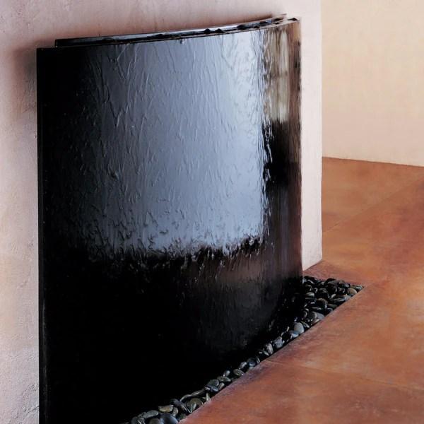 Curved Wall Fountain Black  Modern Stone Fountains