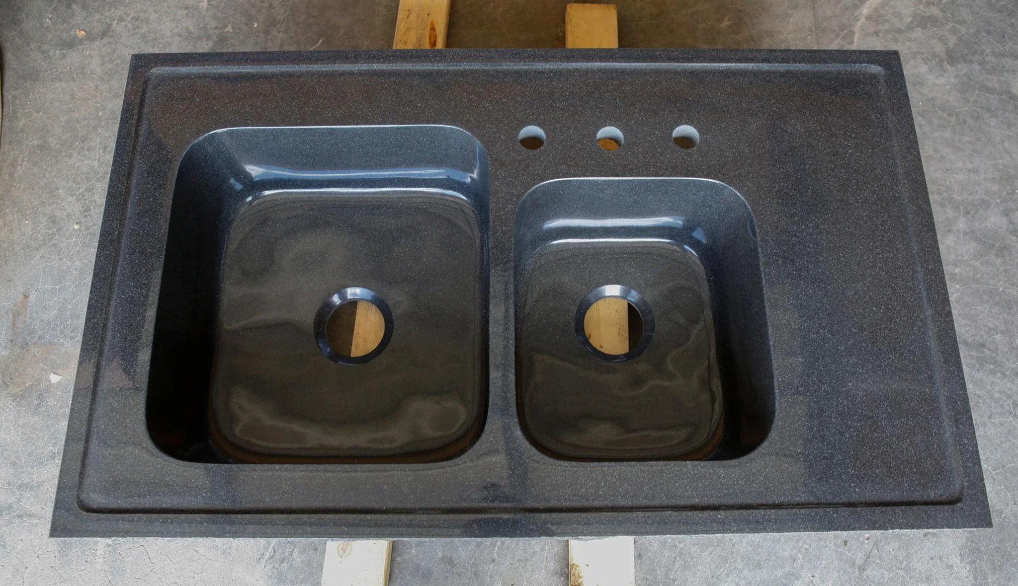 Custom Double Basin Drop In Kitchen Sink Black Granite