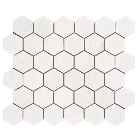 2 inch hexagon polished thassos white marble mosaic tile