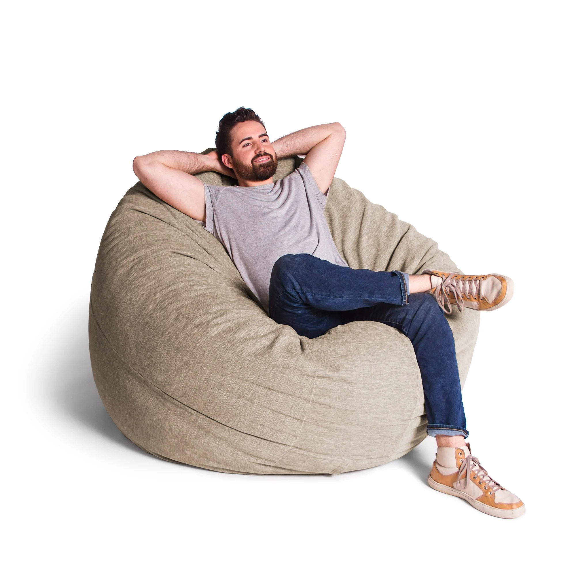 bean bag chairs ski lift chair for sale chenille 6 foot jaxx cocoon 3 in 1 comfy beige