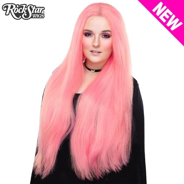 Lace Front Yaki Straight 32  Bubble Gum Pink 00699  Rockstar Wigs
