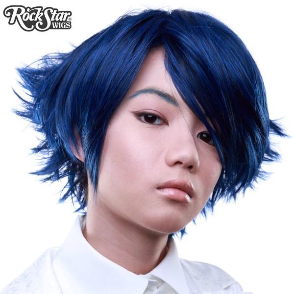 Cosplay Wigs USA Boy Cut Short Blue Black 00259