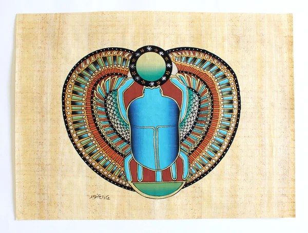Scarab Ancient Egyptian Papyrus Painting Arkan Gallery