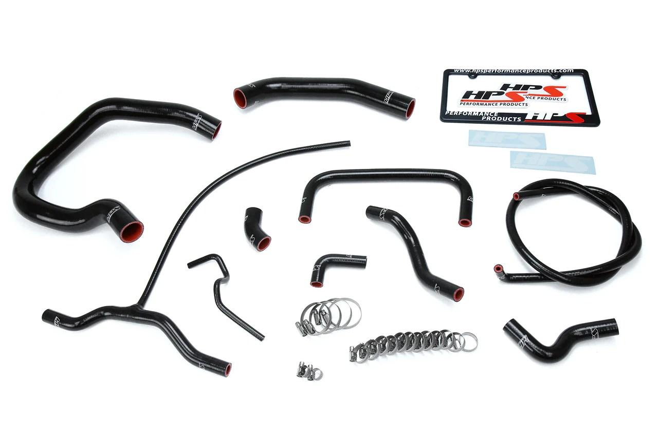 HPS Black Silicone Radiator + Heater Hose Kit for Ford 04
