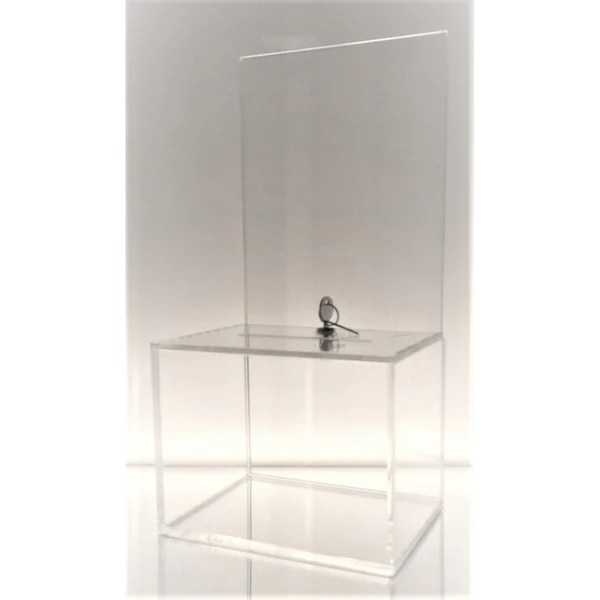 Clear Medium-Sized Acrylic Donation Box with Cam Lock and (2) Keys – Dazzling Displays. Inc.