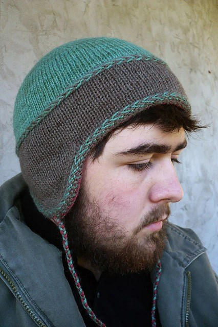 Loom Knit Hat With Ear Flaps