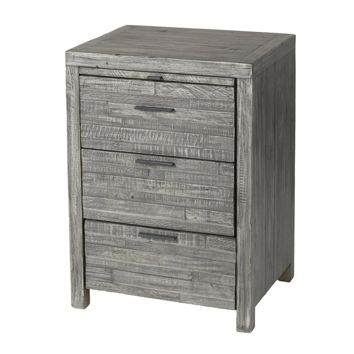 Solid Wood Nightstand Grey Wash