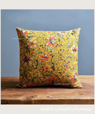 chinoiserie yellow floral motif pillow covers
