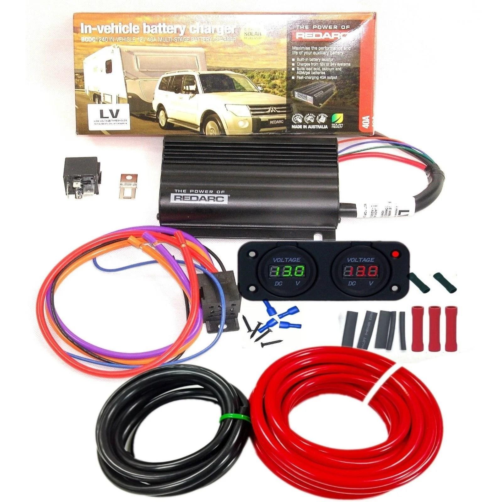 medium resolution of redarc bcdc 1240 24v to 12v dual battery system dc dc charger mppt solar kit