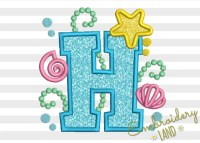 Mermaid Letter H Applique Embroidery Design by ...