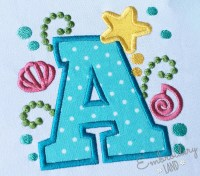 Cute Mermaid Sea Letter A Applique Embroidery Design by ...