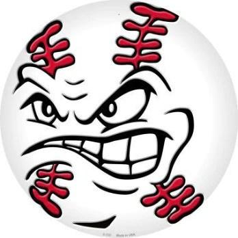 angry baseball face metal