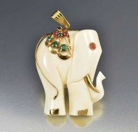 Ruby Sapphire Emerald 14K Gold Elephant Pendant  Boylerpf