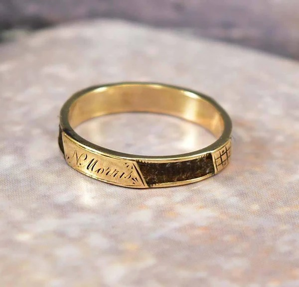 Antique Victorian Gold Woven Hair Band Ring Mourning