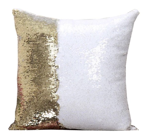 Gold  White Sequin Pillows  3T Xpressions