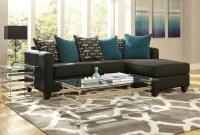 Black and Teal Chaise Sectional Sofa