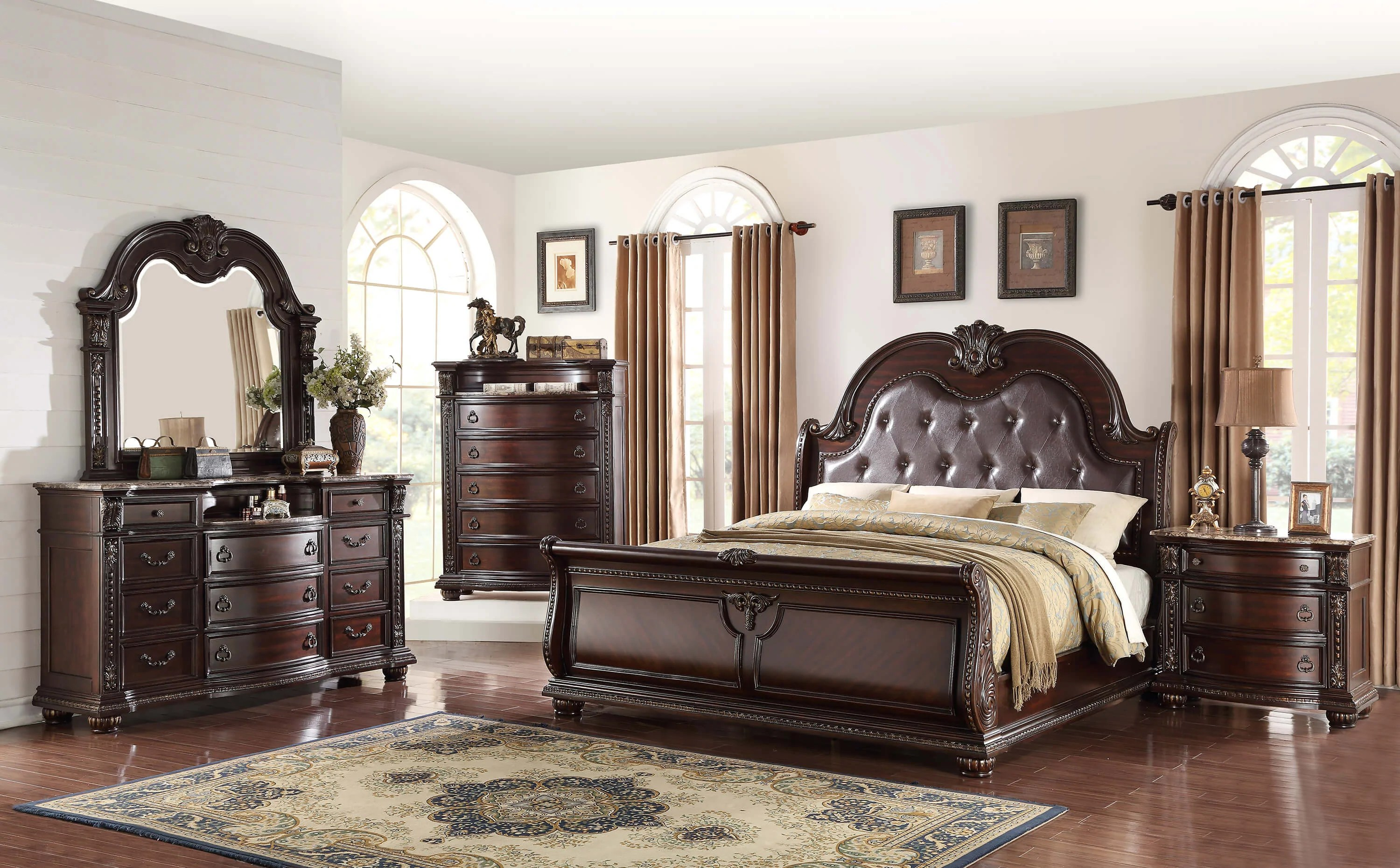 Stanley Sleigh Marble King Bedroom Set  My Furniture Place