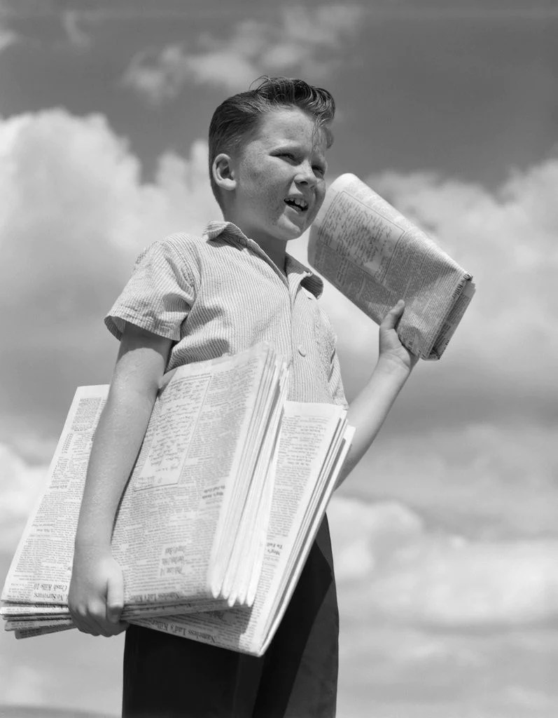 Old Fashioned Newspaper Boy