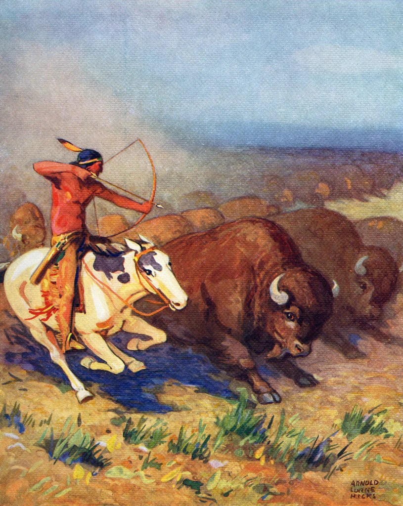 Illustration Of Native American Man Hunting Buffalo Posters & Prints Arnold Lorne Hicks