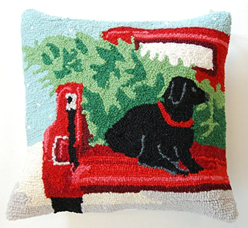 back of the truck christmas tree black labrador retriever dog wool hooked dog throw pillow 16 x 16