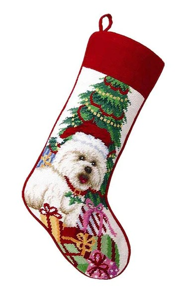 A Love Of Dogs  Bichon Needlepoint Christmas Stockings