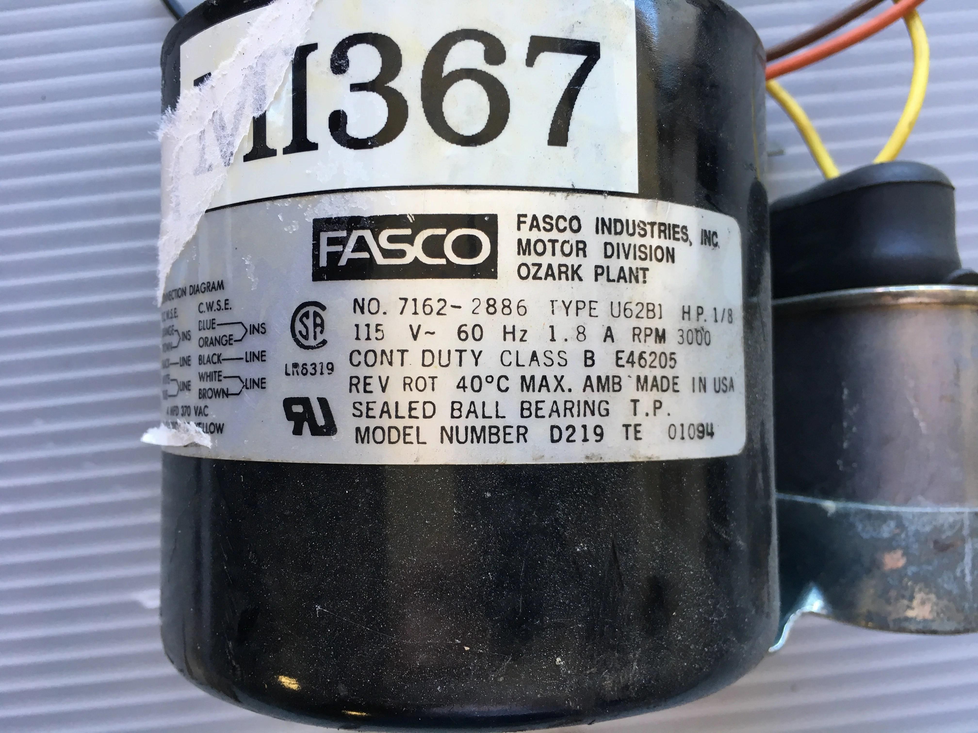 hight resolution of fasco motor u62b1 1 8 hp 3000 rpm 115 v metal logics inc empire wiring diagrams fasco type u62b1 wiring diagram