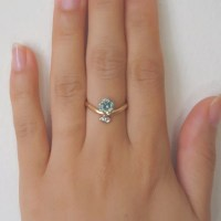 Two-tone Middle Finger Ring with Blue Zircon & Marquise ...