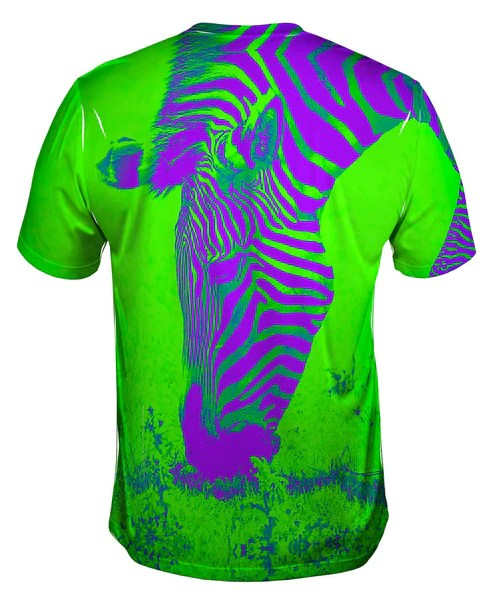 Neon Purple Green Zebra Mens TShirt  Yizzam