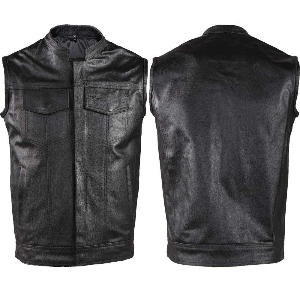 Motorcycle Club Vest - Cowhide Leather Born 2 Ride