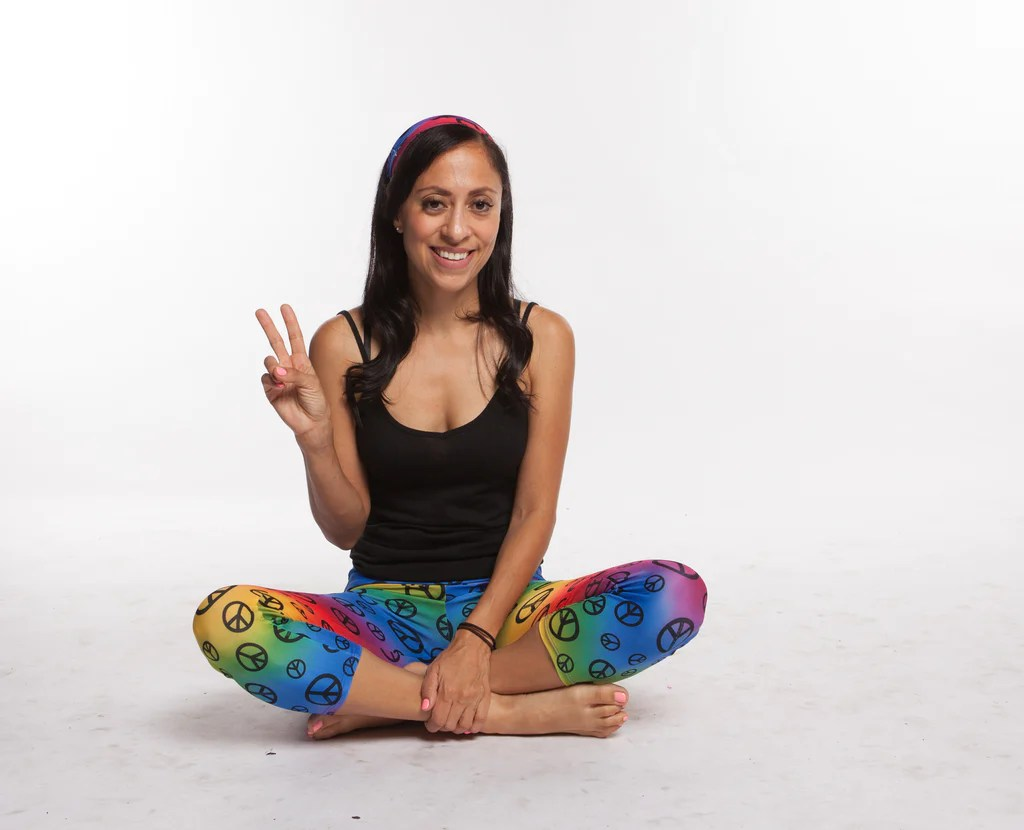 Yoga Pants Women Rainbow Peace Print Spandex Nylon Capri