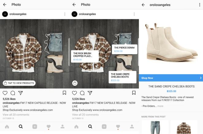 Fashion ecommerce brand ORO LA's Shopping on Instagram