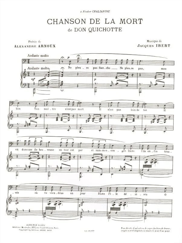 Chanson Sur La Mort : chanson, Ibert:, Chanson, (Song, Death), Ficks, Music
