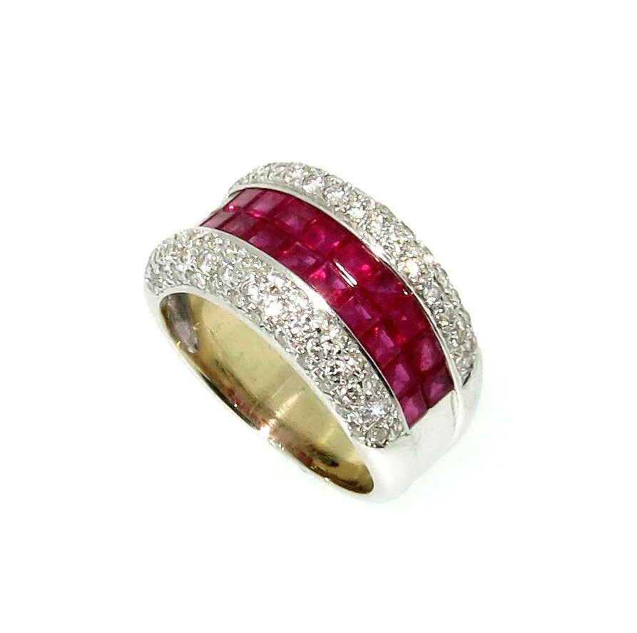 Wide Band Ruby Gemstone & Diamond Wedding Bandengagement