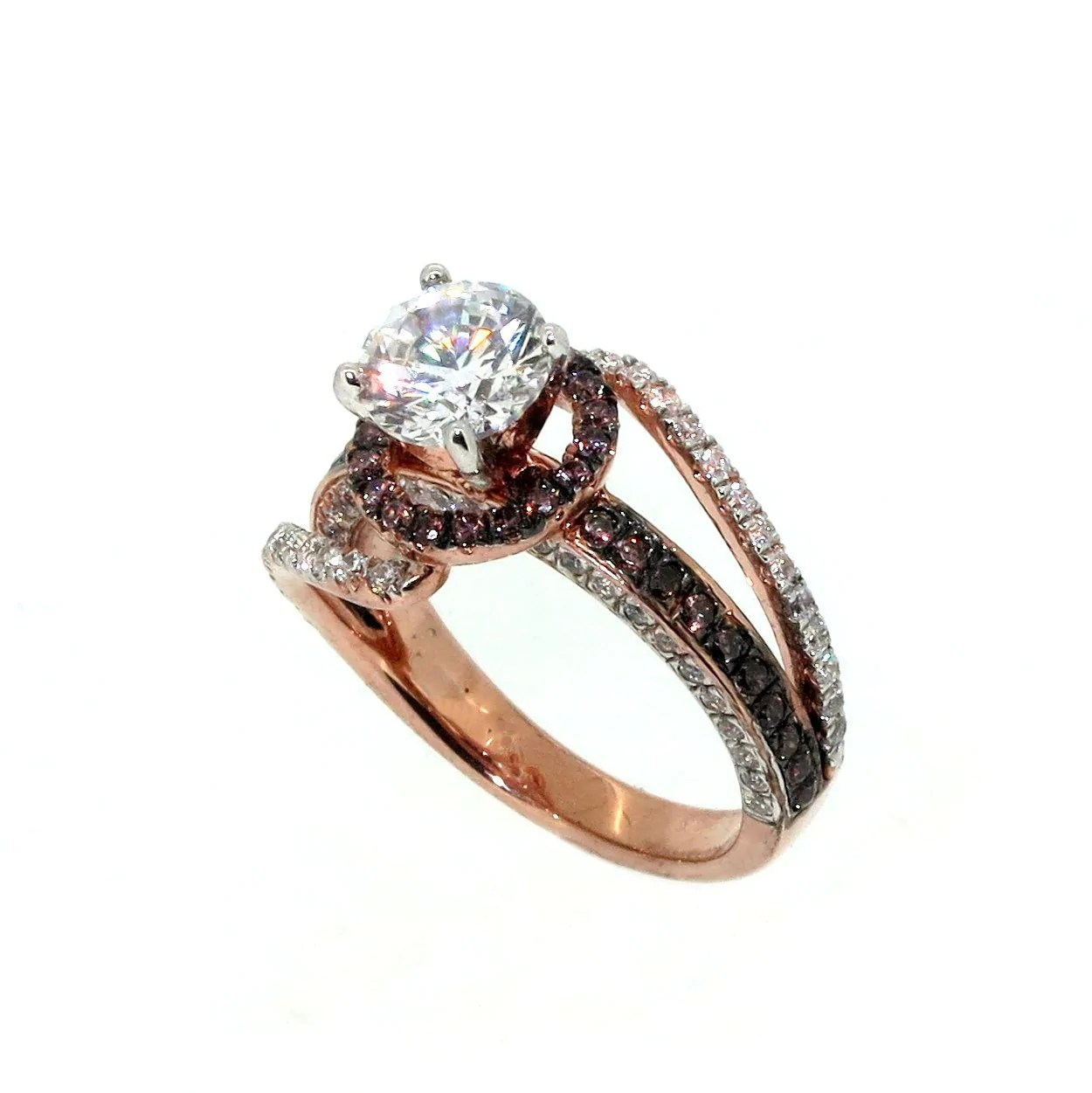 Unique Floating Halo Rose Gold Diamond 1 Carat Forever