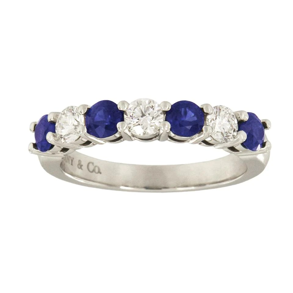Tiffany & . Platinum Diamond Blue Sapphire Band Ring