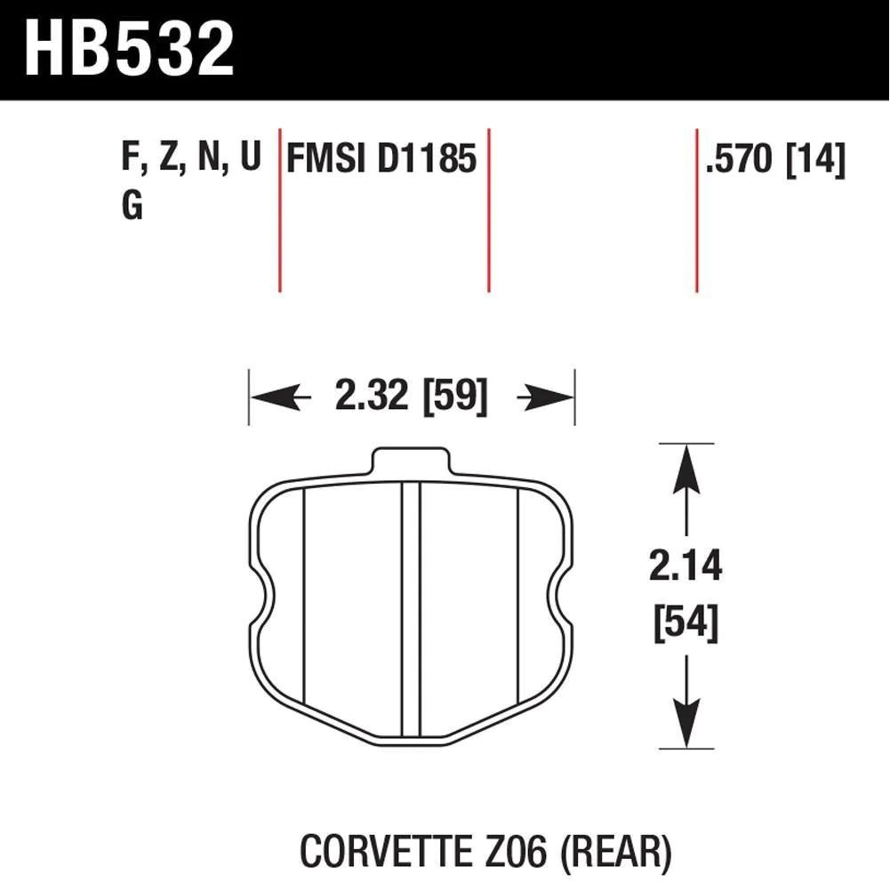c6 corvette brake pads hawk hps street rear [ 1001 x 1001 Pixel ]