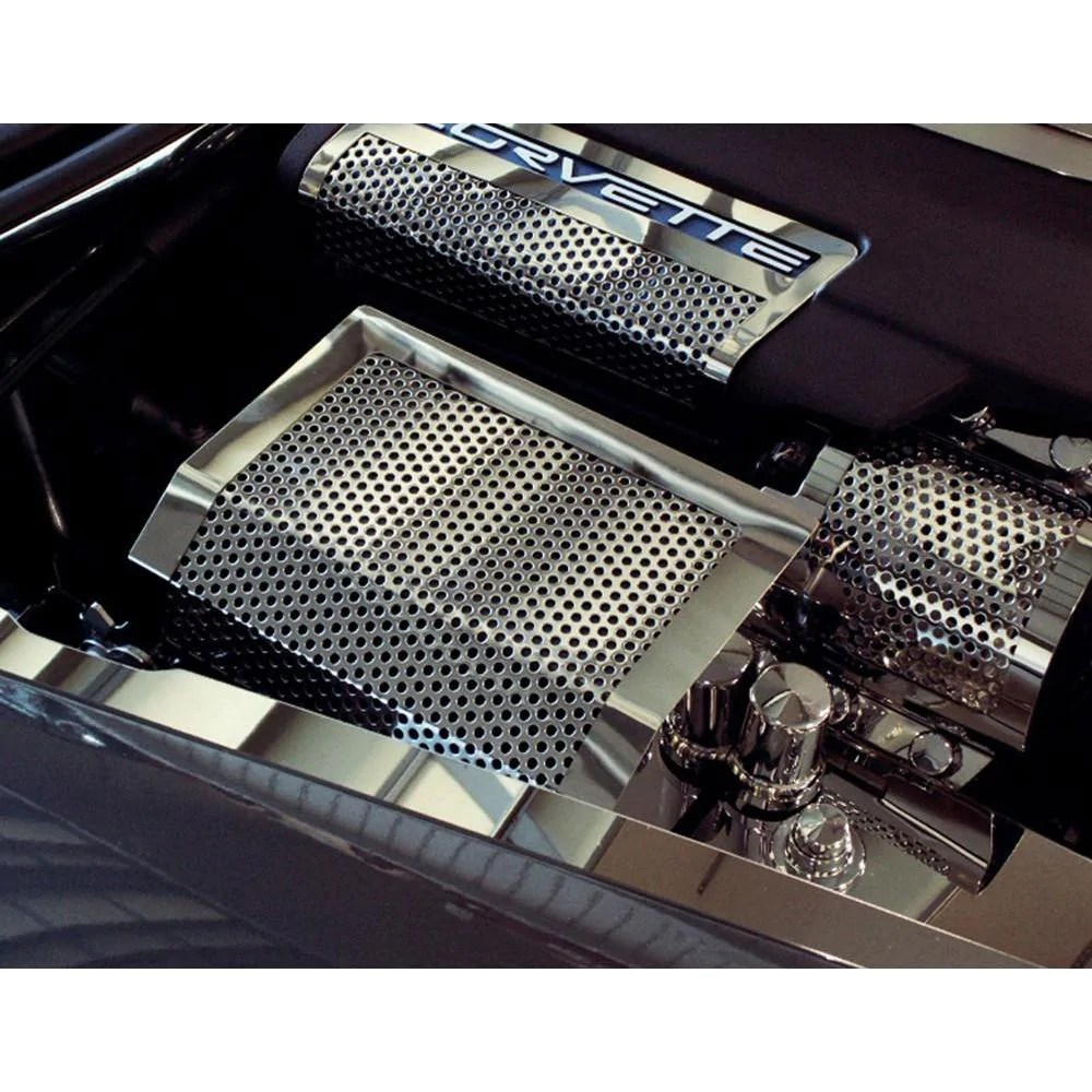 medium resolution of corvette fuse box cover perforated stainless steel 2005 2013 c6 z06 zr1 grand sport