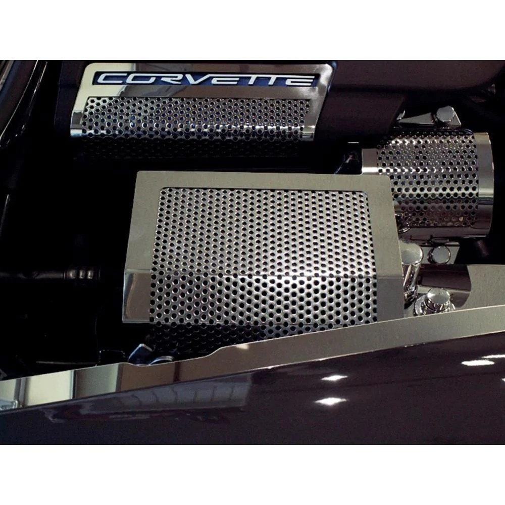 hight resolution of corvette fuse box cover perforated stainless steel 2005 2013 c6 z06 zr1 grand sport