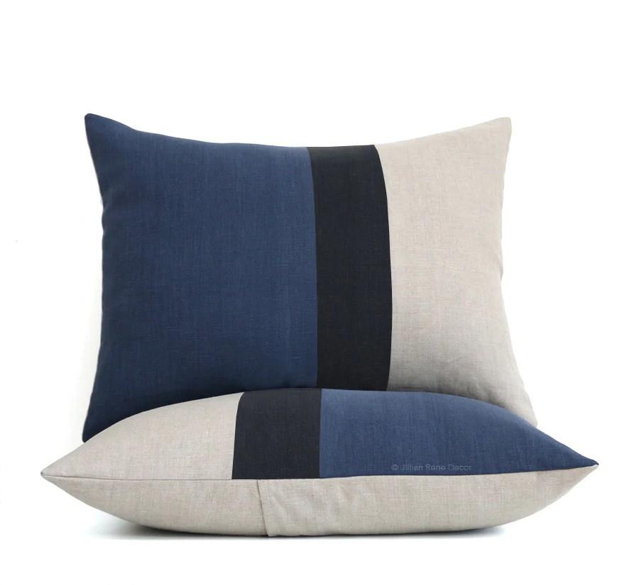 colorblock pillow shams navy black and natural linen
