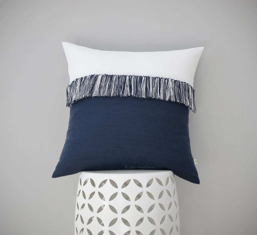 orange and black sofa bed century sofas retail fringe tassel pillow in navy & cream by jillian rene decor ...