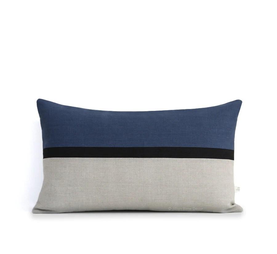 pink velvet sofa cover tesco direct sofas reviews horizon line pillow - navy blue, black and natural linen ...
